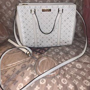 Kate Spade white leather tote/ crossbody handbag